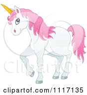 Vector Cartoon Of A White Unicorn With Pink Hair Royalty Free Clipart Graphic by visekart