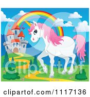 Vector Cartoon Of A Unicorn Near A Fairy Tale Castle And Rainbow Royalty Free Clipart Graphic by visekart