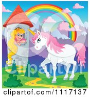 Vector Cartoon Of A Unicorn And Princess In A Tower Under A Rainbow Royalty Free Clipart Graphic