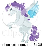 Vector Cartoon Of A Winged Pegasus Horse Flying Royalty Free Clipart Graphic