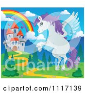 Vector Cartoon Of A Winged Pegasus Horse Flying Near A Castle And Rainbow Royalty Free Clipart Graphic