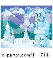 Vector Cartoon Of A Yeti In A Mountainous Landscape Royalty Free Clipart Graphic