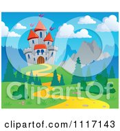 Vector Cartoon Of A Mountainous Castle And Path Royalty Free Clipart Graphic