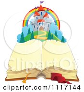 Vector Cartoon Of A Open Aged Book With Blank Pages And A Fairy Tale Castle Royalty Free Clipart Graphic
