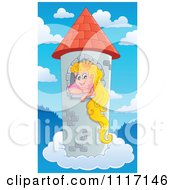 Vector Cartoon Of A Blond Princess In A Floating Sky Tower Royalty Free Clipart Graphic