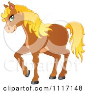 Vector Cartoon Of A Cute Brown Horse With A Blond Mane Royalty Free Clipart Graphic