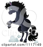 Vector Cartoon Of A Cute Rearing Black Horse Royalty Free Clipart Graphic