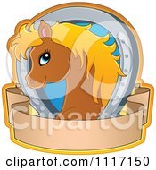 Vector Cartoon Of A Cute Brown Horse With A Blond Mane Horseshoe And Banner Royalty Free Clipart Graphic by visekart
