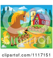 Vector Cartoon Of A Cute Brown Horse Rearing By A Barn Driveway Royalty Free Clipart Graphic