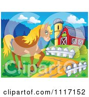 Vector Cartoon Of A Cute Brown Horse By A Barn Driveway Royalty Free Clipart Graphic