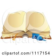 Vector Cartoon Of A Open Vintage Book With Blank Pages Royalty Free Clipart Graphic