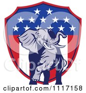 Vector Clipart Retro American Republican Political Party Elephant Over An American Shield 2 Royalty Free Graphic Illustration