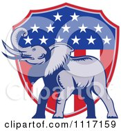Vector Clipart Retro American Republican Political Party Elephant Over An American Shield 3 Royalty Free Graphic Illustration by patrimonio