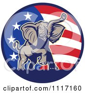 Vector Clipart Retro American Republican Political Party Elephant Over An American Circle 2 Royalty Free Graphic Illustration