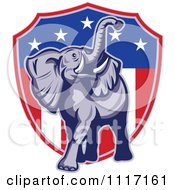 Vector Clipart Retro American Republican Political Party Elephant Over An American Shield 1 Royalty Free Graphic Illustration