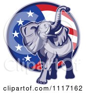 Vector Clipart Retro American Republican Political Party Elephant Over An American Circle 3 Royalty Free Graphic Illustration