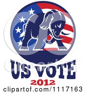 Retro Republican Political Party Elephant And Flag With Us Vote 2012 Text 1