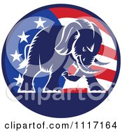 Vector Clipart Retro American Republican Political Party Elephant Over An American Circle 1 Royalty Free Graphic Illustration by patrimonio