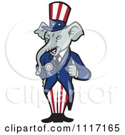 Cartoon Of A Retro Republican GOP Party Elephant Uncle Sam Holding A Thumb Up Royalty Free Vector Clipart