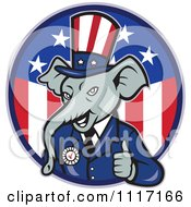Cartoon Of A Retro Republican GOP Party Elephant Uncle Sam Holding A Thumb Up Over An American Circle Royalty Free Vector Clipart