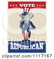Cartoon Of A Retro Republican GOP Party Elephant Uncle Sam Holding A Thumb Up With Vote Text Royalty Free Vector Clipart