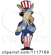 Cartoon Of A Retro Democratic Party Donkey Uncle Sam Holding A Thumb Up Royalty Free Vector Clipart