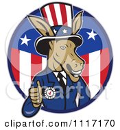 Cartoon Of A Retro Democratic Party Donkey Uncle Sam Giving A Thumb Up In An American Circle Royalty Free Vector Clipart