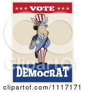 Retro Democratic Party Donkey Uncle Sam Holding A Thumb Up With Vote Democrat Text