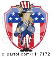 Cartoon Of A Retro Democratic Party Donkey Uncle Sam Holding A Thumb Up Over An American Shield Royalty Free Vector Clipart