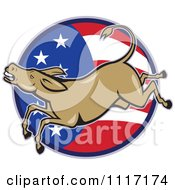 Cartoon Of A Retro Democratic Party Donkey Bucking Over An American Flag Circle Royalty Free Vector Clipart