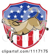 Cartoon Of A Retro Democratic Party Donkey Bucking Over An American Flag Shield Royalty Free Vector Clipart