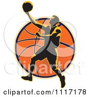Vector Clipart Retro Basketball Player Over A Ball Royalty Free Graphic Illustration