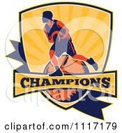 Vector Clipart Retro Basketball Player Athlete On A Shield With CHAMPIONS Text Royalty Free Graphic Illustration
