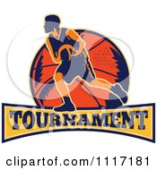 Vector Clipart Retro Basketball Player Athlete Over A Ball And Banner With TOURNAMENT Text Royalty Free Graphic Illustration
