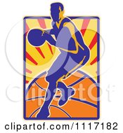 Vector Clipart Retro Basketball Player Over Rays And A Ball Royalty Free Graphic Illustration