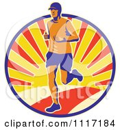 Vector Clipart Retro Triathlete Marathon Runner In A Circle Of Sunshine Royalty Free Graphic Illustration