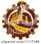 Vector Clipart Retro Factory Worker Mechanic In A Gear With A Building And Road Royalty Free Graphic Illustration