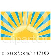 Vector Clipart Retro Styled Yellow Sunburst And Blue Sky Royalty Free Graphic Illustration