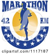 Vector Clipart Retro Triathlete Runner With Marathon 42 Km Text And Stars Royalty Free Graphic Illustration