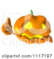 Clipart Of A 3d Halloween Jackolantern Holding A Thumb Up Royalty Free CGI Illustration by Julos