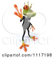 Clipart Of A 3d Waving Springer Frog Prince In A Suit 1 Royalty Free CGI Illustration
