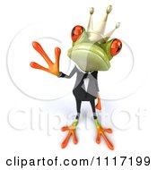Clipart Of A 3d Waving Springer Frog Prince In A Suit 2 Royalty Free CGI Illustration