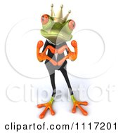 Clipart Of A 3d Springer Frog Prince In A Suit Forming A Heart With His Hands 1 Royalty Free CGI Illustration