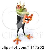 Clipart Of A 3d Springer Frog Prince In A Suit Forming A Heart With His Hands 2 Royalty Free CGI Illustration