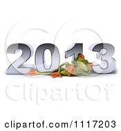 Clipart Of A 3d Springer Frog Reclined In Front Of New Year 2013 Royalty Free CGI Illustration