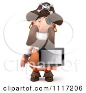Clipart Of A 3d Pirate Holding A Tablet Computer 5 Royalty Free CGI Illustration by Julos