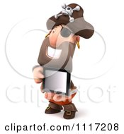 Clipart Of A 3d Pirate Holding A Tablet Computer 7 Royalty Free CGI Illustration by Julos