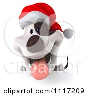 Clipart Of A 3d Christmas Jack Russell Terrier Dog With A Santa Hat And Sign 2 Royalty Free CGI Illustration