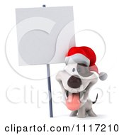 Clipart Of A 3d Christmas Jack Russell Terrier Dog With A Santa Hat And Sign 1 Royalty Free CGI Illustration