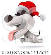Clipart Of A 3d Christmas Jack Russell Terrier Dog Running With A Santa Hat On Royalty Free CGI Illustration
